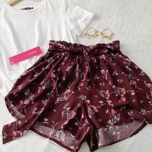 NWT Paper bag Waist Purple Floral Shorts